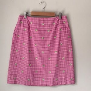 Talbots Pink Check Lime Embroidered Skirt Size 10